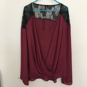 Maroon Shear Top with Bell Sleeves and Lace